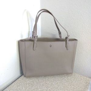 Tory Burch Beige Saffiano Leather Tote Bag